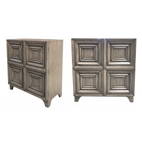 handsome pair of american mid-century solid gray-cerused oak dressing cabinets with coffered bi-fold doors