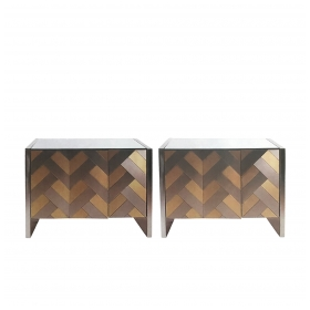 stylish pair of hollywood regency satin brass and polished steel cabinets or chests by Ello at epoca