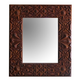an exceptional and large american tramp art rectangular mirror with chip-carved wooden frame