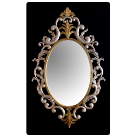 a chic italian 1960's gilt-tole hollywood regency oval wall mirror