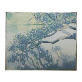 oil on canvas; a serene landscape painting of a tree branch at water's edge