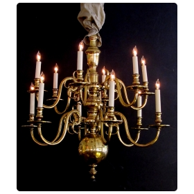 large-scaled and good quality dutch colonial brass 2-tier 12-light chandelier