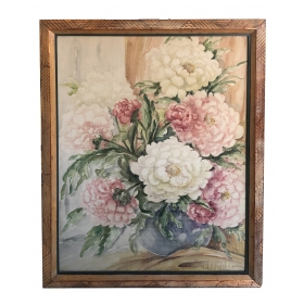 lushly painted still life of peonies in a bowl; signed by M.E. Fager (American, 1897-1973)