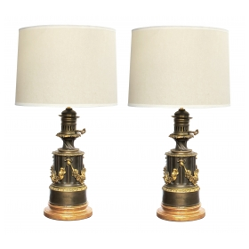 rare and good quality pair of Lampe à Modérateur, Paris louis philippe  bronze oil lamps now electrified