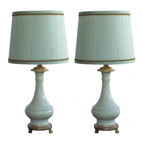 an elegant pair of french celadon-glazed lamps