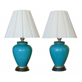 a striking and large pair of american 1960's turquoise crackle-glaze ceramic lamps by frederick cooper