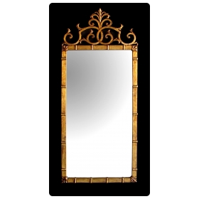 stylish italian 1960's hollywood regency rectangular mirror with gilt-metal frame; attributed to Palladio