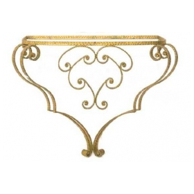 chic italian 1940's art moderne gilt-iron wall-mounted console table with glass top; by Pier Luigi Colli (1895-1968)