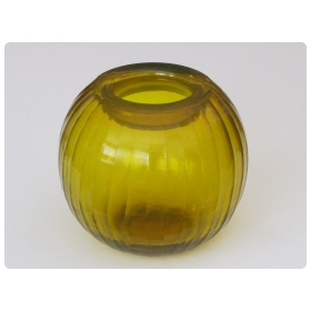 a well-executed bohemian glass orb-form citrine-colored vase with hand-carved faceted decoration