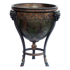 nicely cast and chased french neoclassical style parcel-gilt and patinated bronze jardiniere/urn
