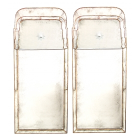 a chic pair of Queen Anne style giltwood pier mirrors with mirrored border and reverse-etched sunburst