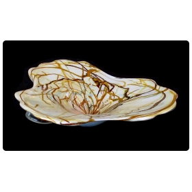 a large and impressive murano 1960's amorphic-shaped bowl with encased swirl decoration