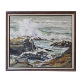 """Seascape"" oil on canvas 1950's by California artist Lucille Kent"