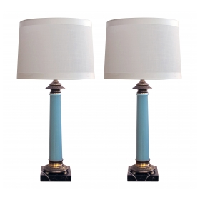 an elegant and good quality pair of Paul Hanson 1960's columnar-form pale-blue glazed lamps