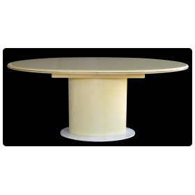 good quality and sleek american 1970's lacquered oval dining table