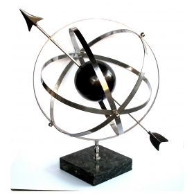 large-scaled and well-rendered american 1980's steel astrological zodiac armillary