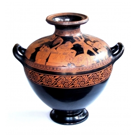 rare and large-scaled italian terra cotta glazed stamnos vase/jar by listed ceramicist Giovanni Mollica, c. 1850