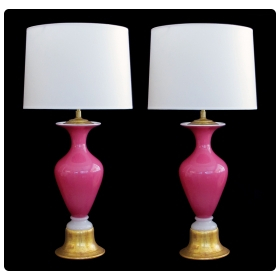 striking pair of murano mid-century pink cased-glass baluster-form lamps