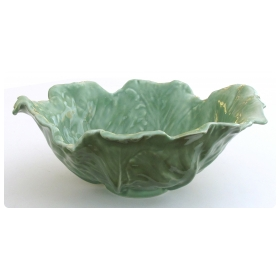 large-scaled american rookwood 1940's art pottery celadon glazed cabbage-leaf bowl
