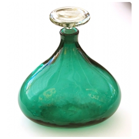 thickly-modeled and deeply colored 1950's Blenko Glassworks hand-blown emerald green decanter