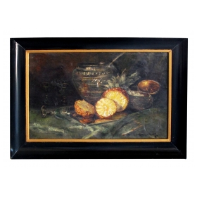 Continental school; oil on canvas; still life with pineapple