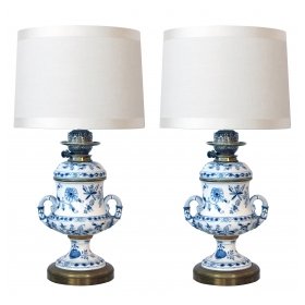good pair of meissen blue onion pattern oil lamps now electrified; originally sold by Westbourne Grove Dept. Store, London