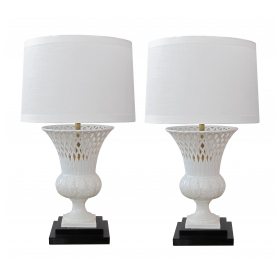 elegant pair of italian white-glazed basket-weave urn-form porcelain lamps