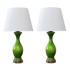 shapely pair of american 1960's apple-green cased-glass baluster-form lamps