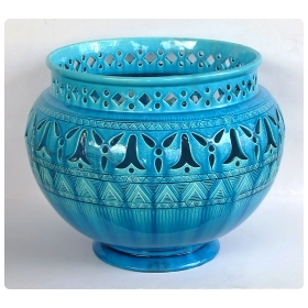 rare and large english burmantofts faience teal-glazed pierce-work jardinière/urn/pot