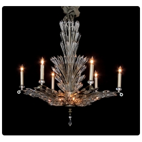 a chic 6-light chandelier with radiating crystal fronds
