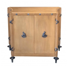 Stylish French 1940's Sycamore 2-Door Cabinet with Pewter Mounts