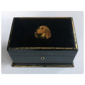 victorian black-lacquered stationary box with expressive hand-painted basset hound
