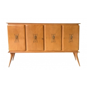 Stylish Italian Mid-Century 4-Door Sycamore Credenza in the Style of Ico Parisi