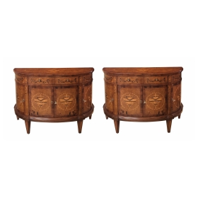 Handsome Pair of Baltic Neoclassical Style Marquetry Inlaid Birch and Walnut Demilune Commodes.