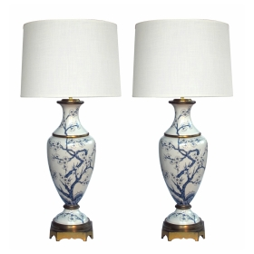 elegant pair of paris porcelain blue and white hand-painted baluster-form lamps