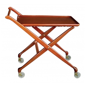 stylish italian mid-century cherrywood bar/drinks cart with removable tray