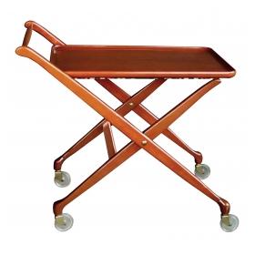 stylish italian mid-century cherrywood bar/drinks cart with removable tray