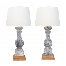 Striking Pair of French Louis Philippe Gray Marble Balustrades now Mounted as Lamps