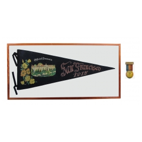 San Francisco Panama Pacific Exposition of 1915 Souvenir Banner with Opening Day Button