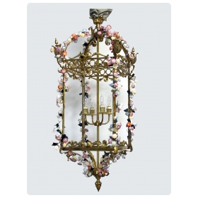 Large French Louis XVI Style Bronze Doré 4-light Lantern with applied Porcelain Flowers