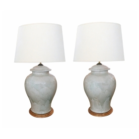 A Stunningly Large Pair of 1960's Celadon Crackle-Glaze GingerJar Lamps