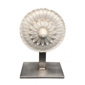 A Well-carved Italian Marble Architectural Element of a Flower on a Steel Stand