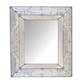 Stunning Antique Italian Reverse-etched Rectangular Venetian Mirror