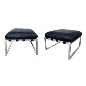 Rare Pair of Jørgen Høj (Danish, 1925–1994)  Aluminum Stools/Benches with Black Leather Cushions