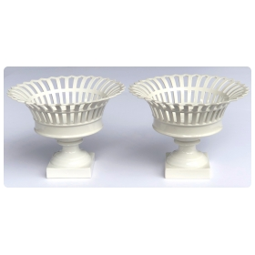 A Good Pair of German KPM White-glazed Pierced Lattice Compotes