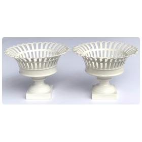 A Good Pair of German KPM White-glazed Pierced Lattice Compotes
