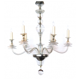Stylish Hollywood Regency Clear Glass 6-light Chandelier