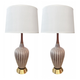 Shapely Pair of Danish Modern Brown Salt-glazed Pottery Ovoid-form Lamps