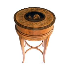 Italian Neoclassical Fruitwood Inlaid Cylindrical Sewing Box on Stand