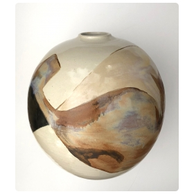 Large and Impressive Glazed Ovoid-form Pot/Vessel; signed by listed ceramicist Sasha Makovkin